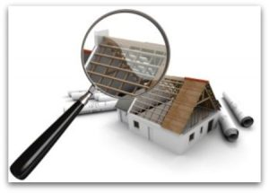 3D rendering of a house under construction scrutinized by a magnifying glass